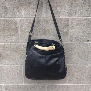 Yves Saint Laurent Black Leather Bone Handle Bag